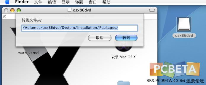 填写正确:/Volumes/osx86dvd/System/Installation/Packages/ --这里你只要填入文件夹的第一个字母。系统会