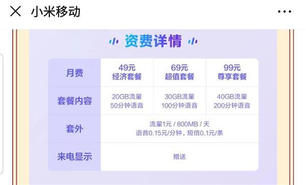 小米推出49元包20GB流量5G手机专属套餐